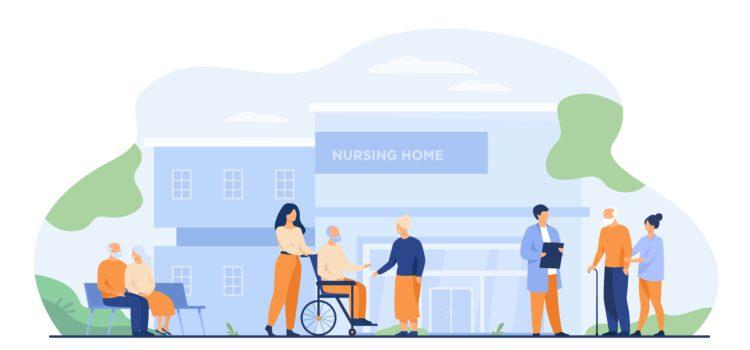 Pflege- und Seniorenheim, ältere Menschen werden betreut