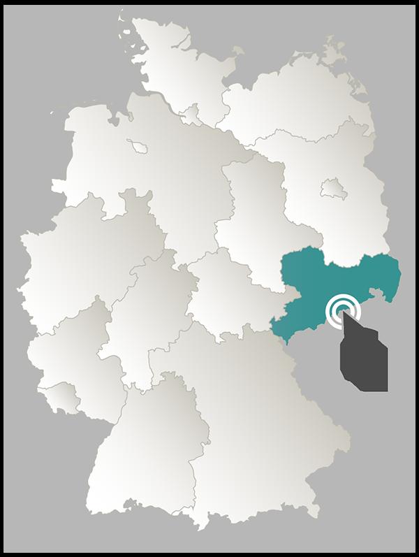 Deutschlandkarte mit Sachsen hervorgehoben